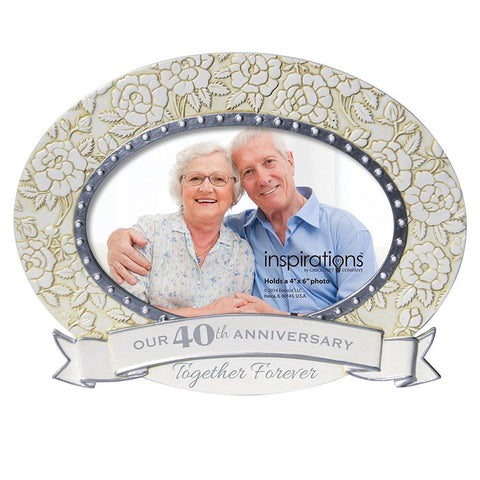 Enesco Inspirations Anniversary-40yrs Oval Frame