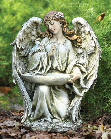 Kneeling Angel Stone Indoor/Outdoor Garden Statue Birdfeeder