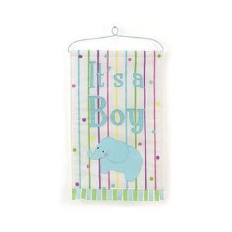 """It's a Boy"" Door Hanger Animal Crackers Blue Elephant"