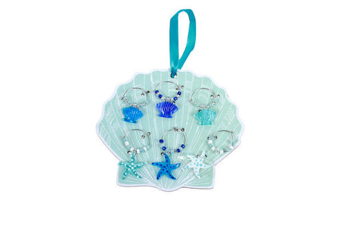 DEI 25268 - Artglass Wine Charms Seashell & Starfish  Set Of 6