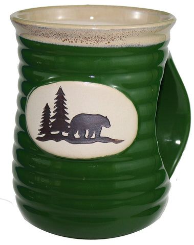 Ceramic Hand-Warmer Bear Stoneware Mug (Green)
