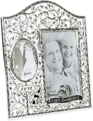 50th Happy Anniversary Filigree Leaf 9 x 8 inch Zinc Alloy Table Top Picture Frame
