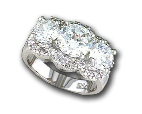 R.S. Covenant 618 Silver & Lg / Small Cz Fancy Ring Size 8