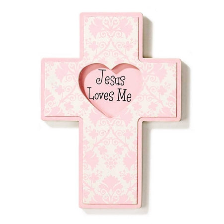 Dicksons BBWCW-1 Jesus Loves Me Wall Cross, Pink Heart