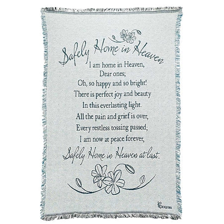 Dicksons FAB-962 Safely Home in Heaven on Aqua Memorial 48 x 68 All Cotton Tapestry Throw Blanket