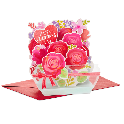Hallmark Paper Wonder Flower Vase Pop Up Valentine's Day Card