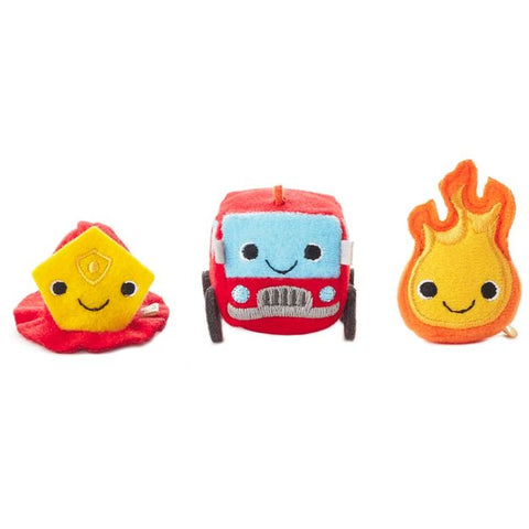 Hallmark Happy Go Luckys - Firehouse Mini Stuffed Animals (Set of 3)