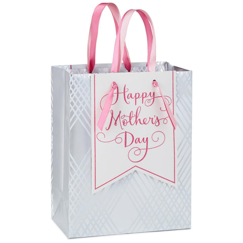 Hallmark Happy Mother's Day Silver and Pink Medium Gift Bag