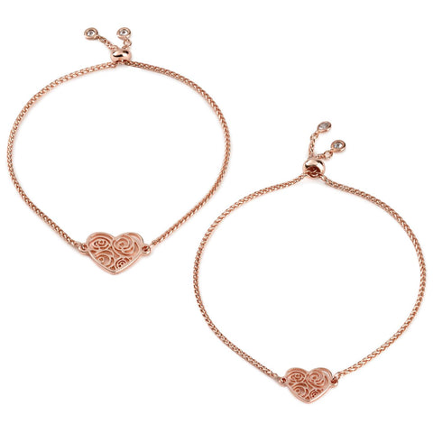 Hallmark Mark & Hall Rose Gold Filigree Heart Bolo Bracelets, Set of 2