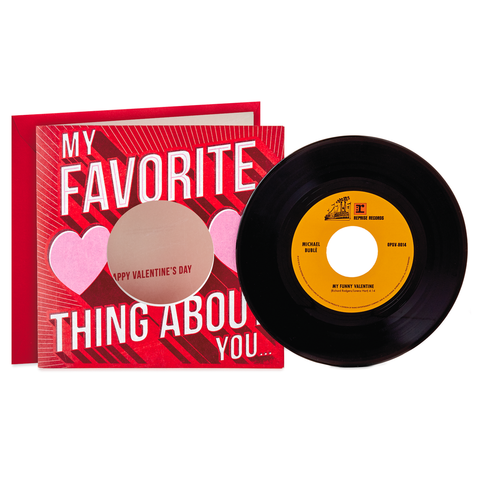 "Hallmark Michael Bublé ""My Funny Valentine"" Valentine's Day Card With Vinyl Record"