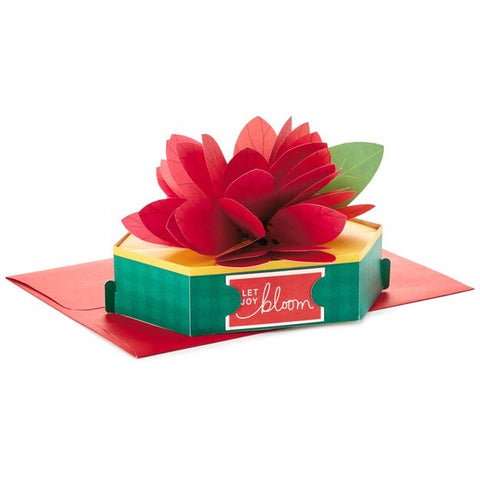 Hallmark Christmas Red Poinsettia Pop Up Christmas Card