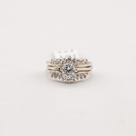 2-Pc Set Cubic Zirconia Crystal Ring