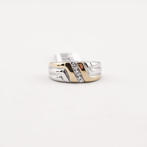 Cubic Zirconia 2-Tone Band Ring