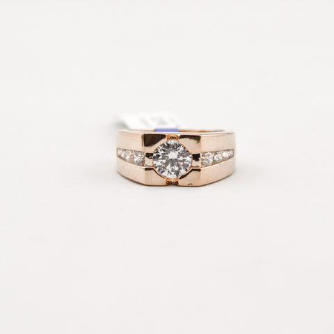 Gold Ring With Cz Diamonds Ring