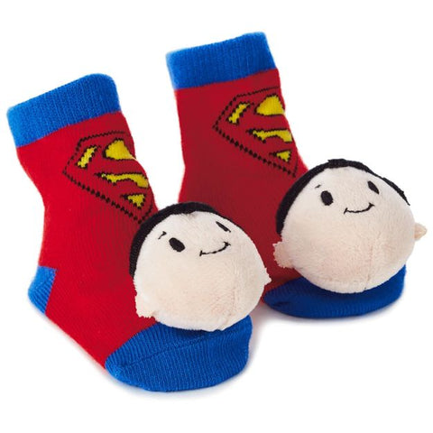 Hallmark 1KDD1227 itty bittys Superman Baby Rattle Socks