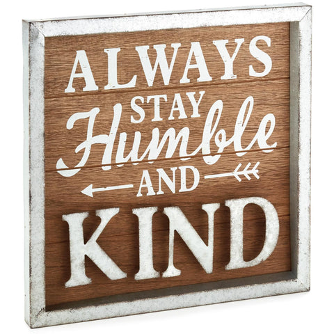 Hallmark Stay Humble Rustic Wood Sign, 11.75x11.75