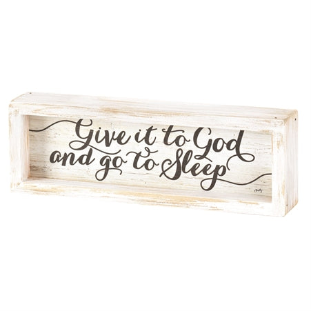 Dicksons TTPLQW-23 Give It to God Go to Sleep Whitewashed 10 x 3 Wood Tabletop Plaque