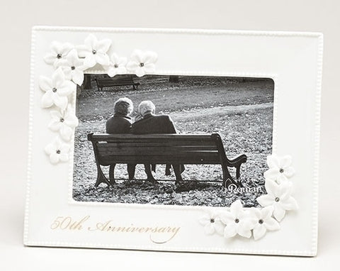 Roman Inc 10065 50th Anniversary White Porcelain Jeweled Decorative Flowers 4x6 Picture Frame