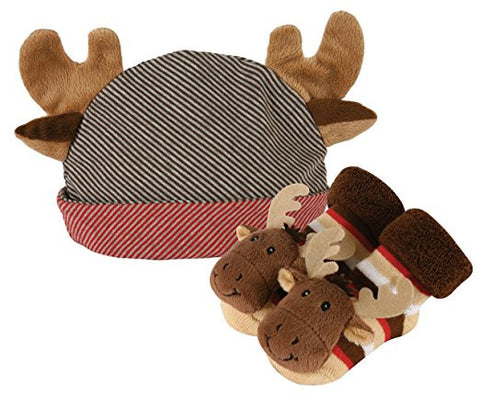 Stephan Baby Rattle Socks and Knit Cap with Plush Antlers Gift Set, Moose