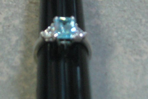 R.S. Covenant 4277 Aqua CZ Silver Ring Size 10