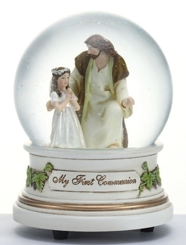 Roman 41509 Communion Girl Musical Glitterdome