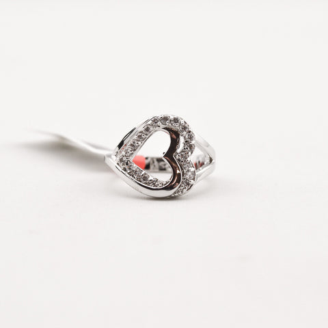 R.S. Covenant 873 CZ Double Heart Silver Ring Size 6