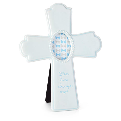 Hallmark Blue Ceramic Cross Picture Frame