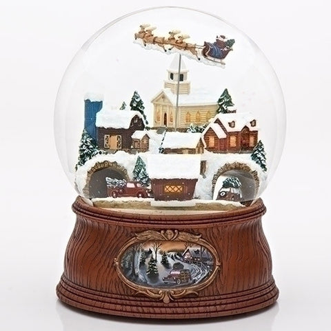 "Roman 31078 7.75"" Musical Santa in Sleigh Dome Village with Cars Rotating"