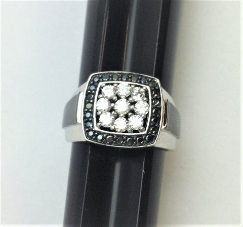 R.S. Covenant 2361 Mens Square Black & Clear Cz Square Ring Size 8
