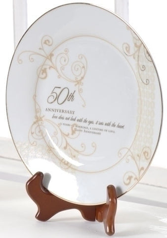 Roman Inc. 50th Wedding Anniversary Plate - Gifts Anniversary Occasions Special 61209-ROM
