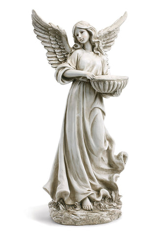 NAPCO  11408 Angel Holding Bowl 27.5 Inch Resin Decorative Indoor Outdoor Garden Statue