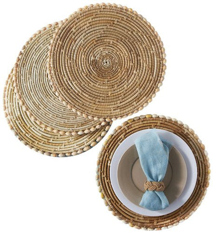 Two's Company Pandan & Seashells Set Of 4 Placemats