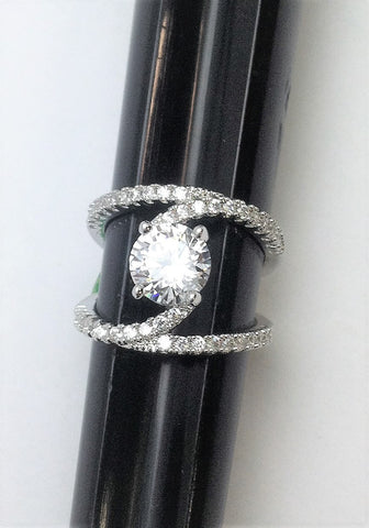R.S. Covenant 6125 Faux Double Cz Band Ring With Centered Cz Size 6