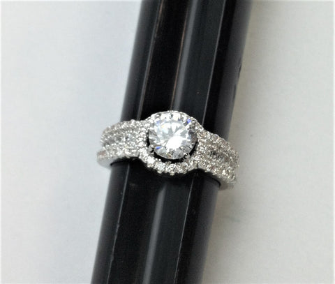 R.S. Covenant 6044 Round Halo Cz Circle Ring With Triple Cz Sides Size 5