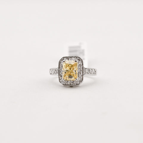 R. S. Covenant 4370 Canary CZ Silver Ring Size 9