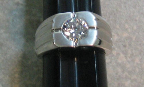 R. S. Covenant 2299 Men's CZ Solitaire Silver Shiny/Matte Ring Size 13