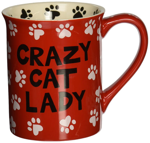 Enesco Our Name Is Mud - Red Crazy Cat Lady Mug (Multi Color)