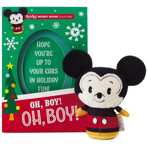 Hallmark Christmas Greeting Cards with Mickey Mouse Itty Bitty Plush