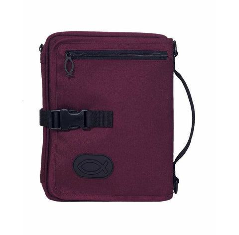 Dicksons Burgundy Ultimate Travel Organizer Zipper Pocket Large Nylon Bible Cover with Handle