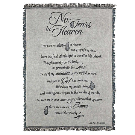 Dicksons No Tears in Heaven on Grey Memorial 48 x 68 All Cotton Tapestry Throw Blanket