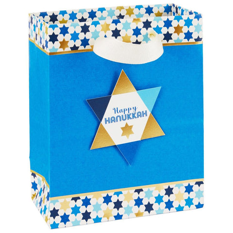 HMK CHR - Star of David on Blue Small Hanukkah Gift Bag