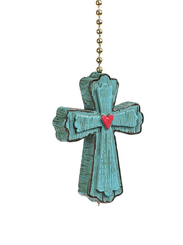 Clementine 379 Blue Joyful Cross Fan Pull