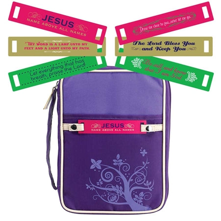 Dicksons Purple Jesus Name Above All 7.25 x 10 Reinforced Polyester Bible Cover Case