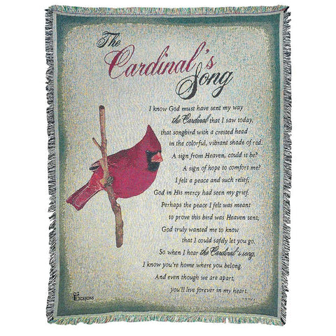 Dicksons The Cardinal's Song Poem on Green 52 x 68 All Cotton Tapestry Throw Blanket