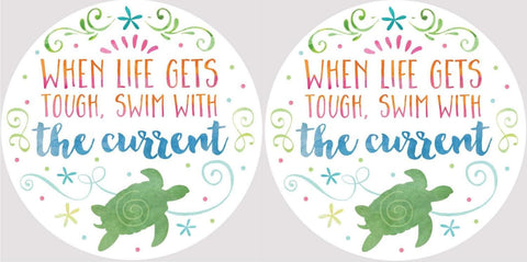 Clementine 4048 When Life Gets Tough Swim With Current Sea Turtle Car Coasters Set of 2