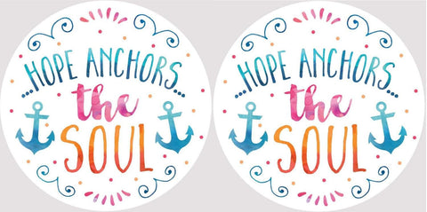 Clementine 4041 Hope Anchors the Soul Car Coasters Set of 2
