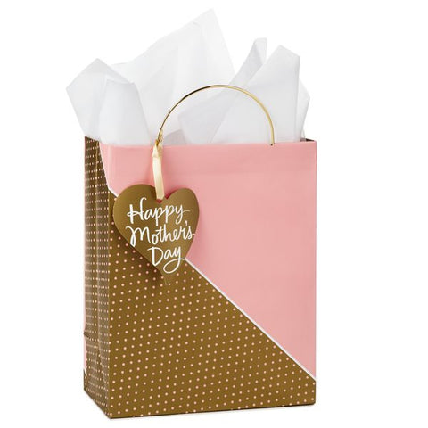 Hallmark 599WDB5769 Mother's Day Gold Handle Medium Gift Bag