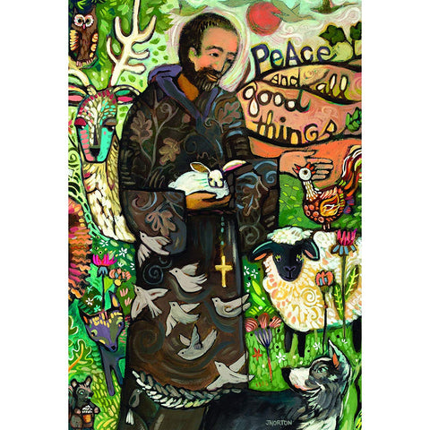 Dicksons St. Francis with Beloved Animals Artistic Fields Polyester Small Garden Flag
