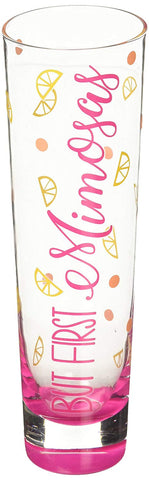 Pavilion 73215  But First Mimosas Pink and Orange Polka Dot - 8 oz Glass Stemless Champagne Flute