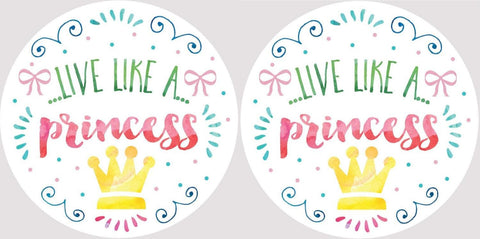 Clementine 4052 Live Like a Princess Golden Crown Car Coasters Set of 2
